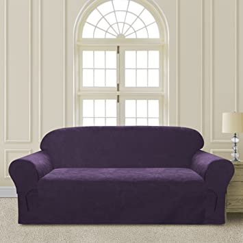 Awesome Comfy Bedding Microsuede Sofa Furniture Slipcover With Elastic Straps Under  Seat Cushion (Purple, Sofa