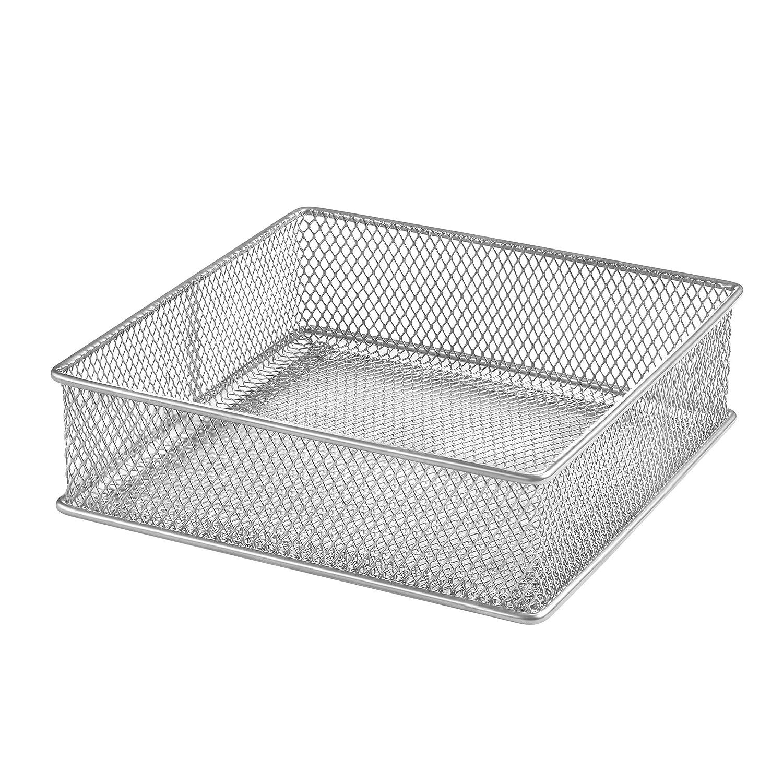 YBM HOME Silver Mesh Drawer Cabinet and or Shelf Organizer Bins, School Supply Holder Office Desktop Organizer Basket 1595s (1, 6x6x2 Inch)