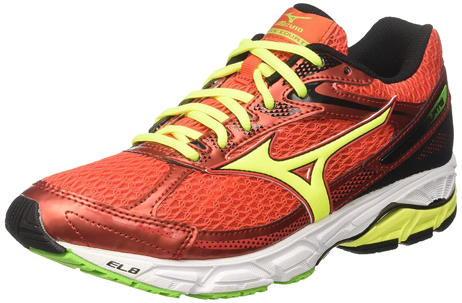 Mizuno Herren Wave Equate Turnschuhe, Schwarz  42.5 EU|Verde (Grenadine/Safety Yellow/Jasmine Green)