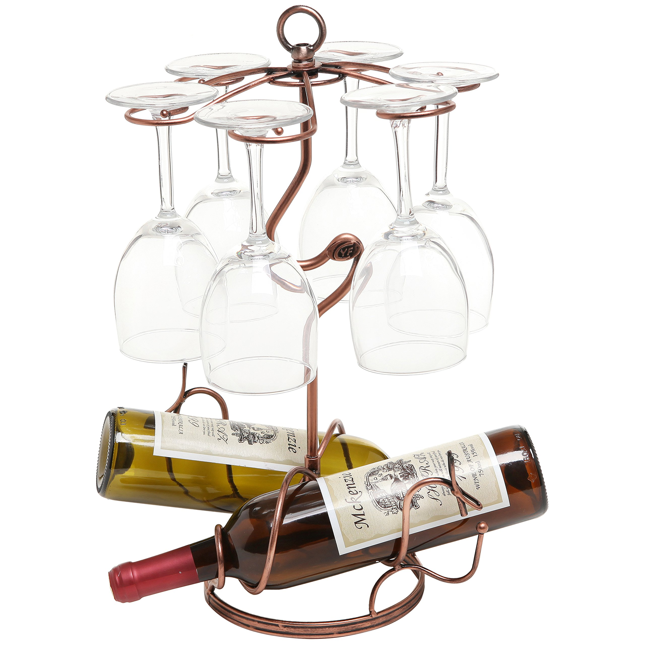 Freestanding Scrollwork Bronze Metal 2 Wine Bottles / 6 Wine Glass Stemware Storage Display Rack Stand
