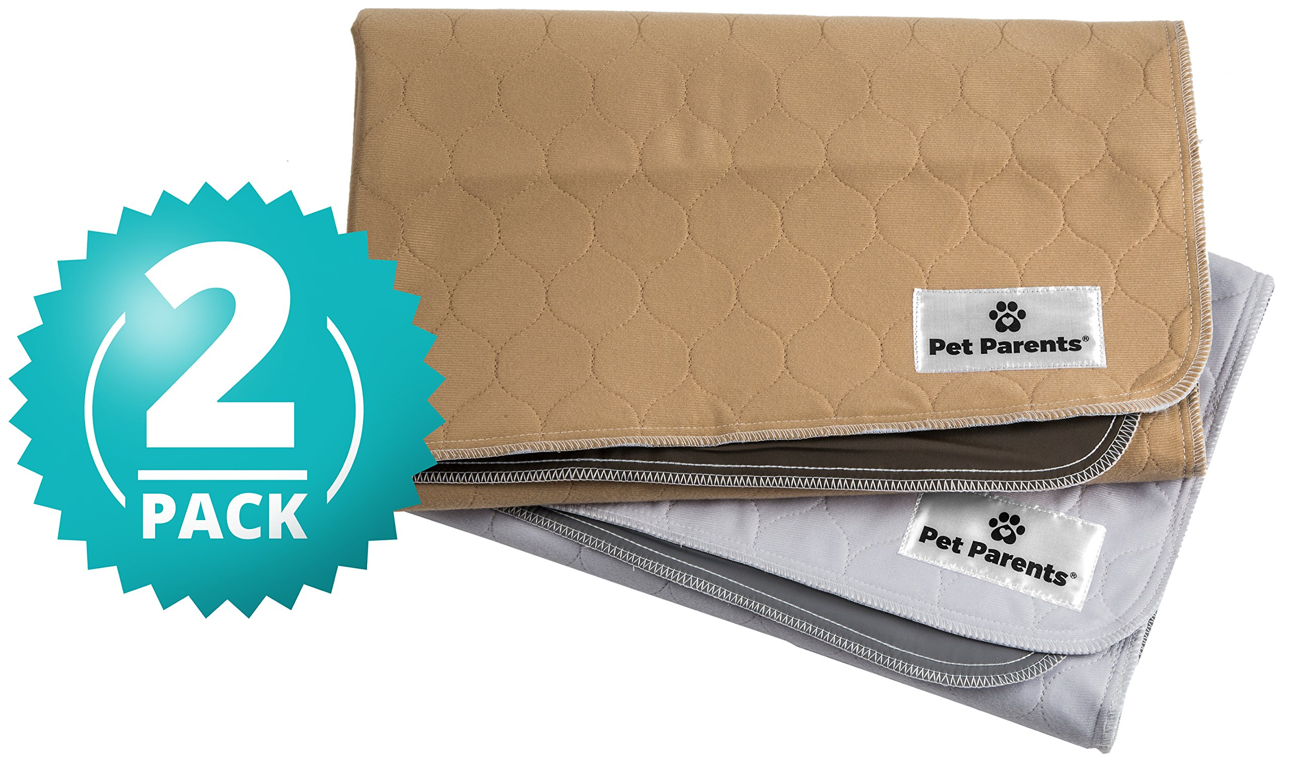 Pet Parents Washable Dog Pee Pads (2pack) of (34x36) Premium Pee Pads for Dogs, Waterproof Whelping Pads, Reusable Dog Training Pads, Quality Travel Pet Pee Pads! (1 Tan & 1 Grey)