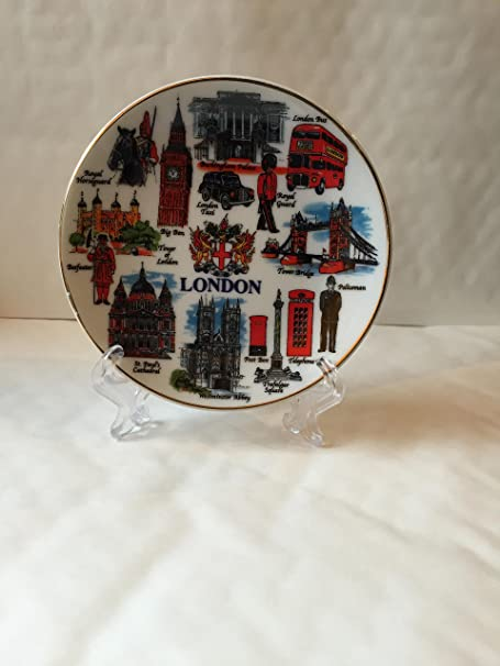 London Buckingham Palace Great Britain Porcelain Plate w// Display Stand