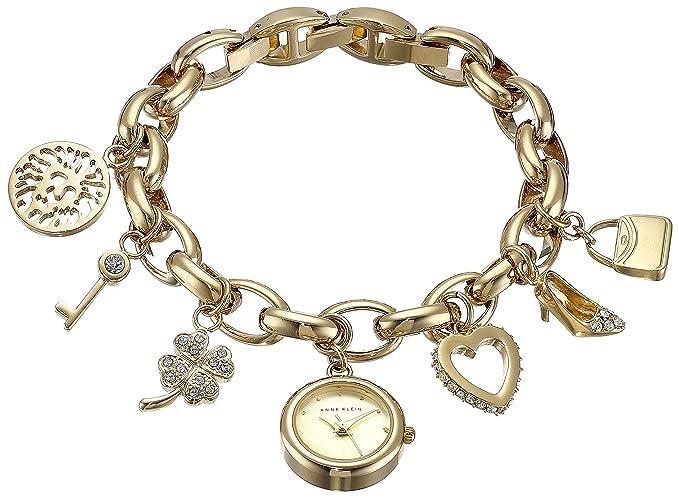 c2bbd14e2b80 Anne Klein Women's 10-7604CHRM Swarovski Crystal Gold-Tone Charm Bracelet  Watch
