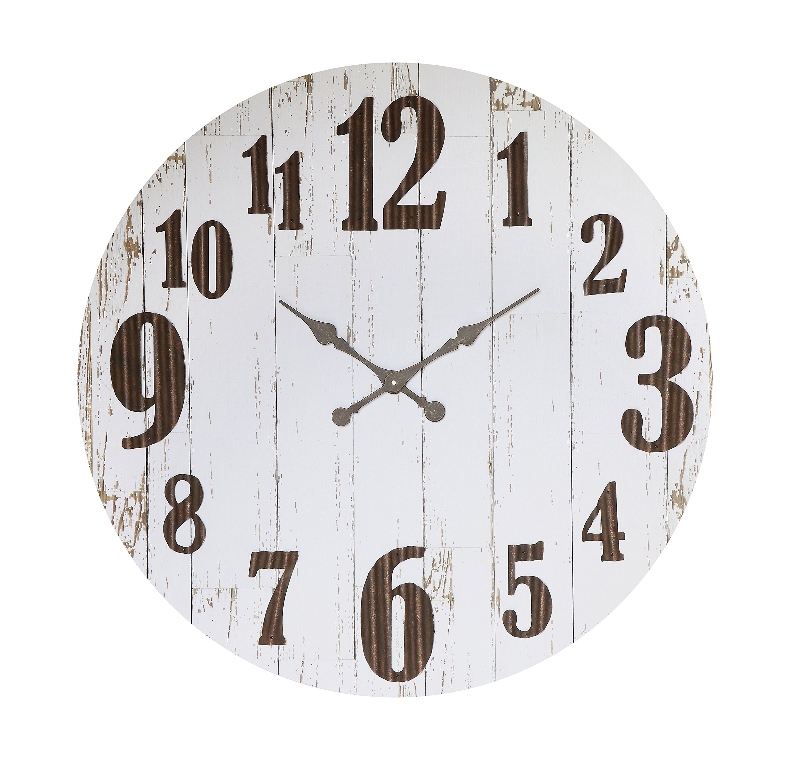 Black and White Round Wood and Metal Wall Clock