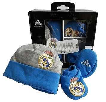 Adidas Real Madrid ensemble cadeau bébé Bonnet bébé Chaussures Neuves Taille OSFB