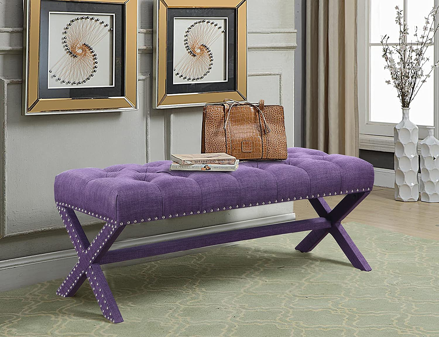 Iconic Home Dalit Updated Neo Traditional Polished Nailhead Tufted Linen X Bench, Plum