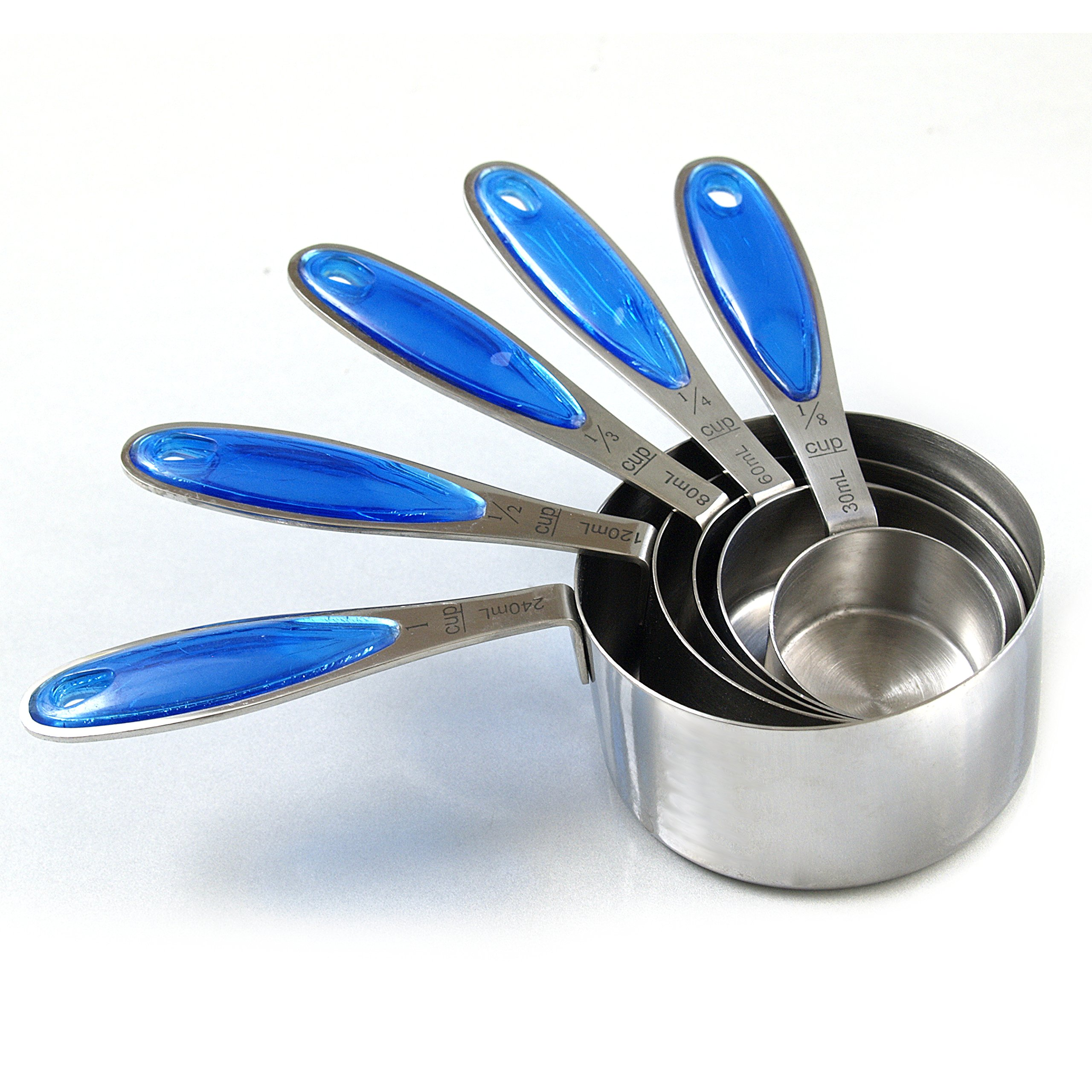 RSVP Endurance Splash 18/10 Stainless Steel Measuring Cups with Blue Grip by RSVP