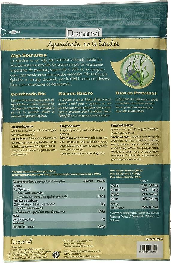 Drasanvi Alga Spirulina Bio 150 Gr Doypack Superalimentos Drasanvi - 0: Amazon.es: Salud y cuidado personal