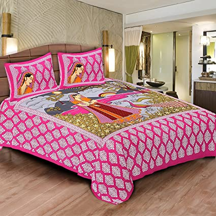 Jaipur Prints Cotton Bedsheets Rajasthani Traditional Printed With 2 Pillow  Covers