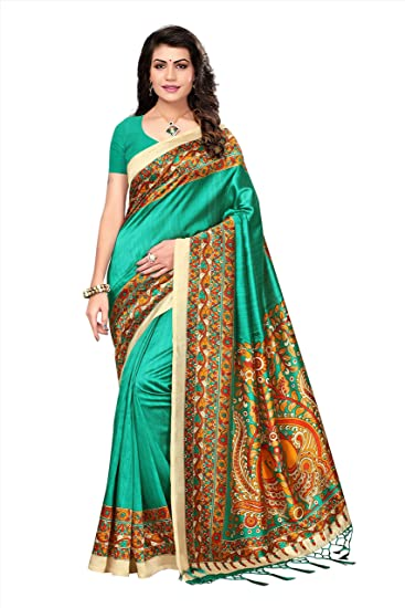 c70431dcf2efd6 Rangreza Art Silk Ocean Green Embellished Floral Printed Saree With Blouse  Piece(Jhalar Saree)  Amazon.in  Clothing   Accessories