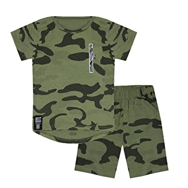 Kids Belted Multipocket Shorts Boys Champs Print Cotton Combat Pants