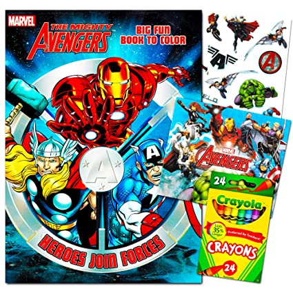 Marvel Avengers Coloring Book With Crayons and Stickers Set