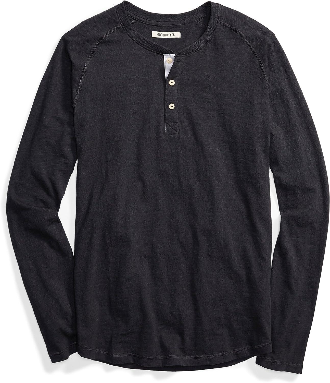 Goodthreads Camiseta estilo Henley de algod/ón flameado de manga larga ligera para hombre Marca