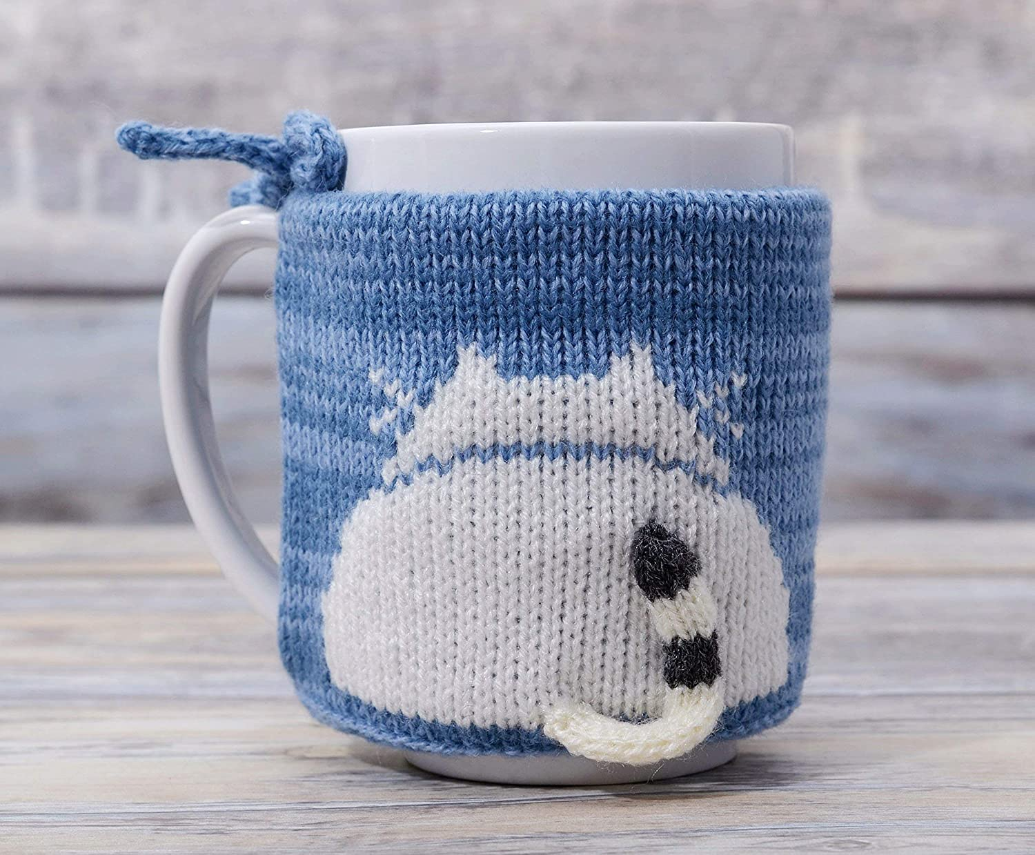 Cat Lover Tea Cup Cozy Light Blue Teacup Sweater Cosy Warmer Knit Gift Kitty Cat Coffee Sleeve White Kitten
