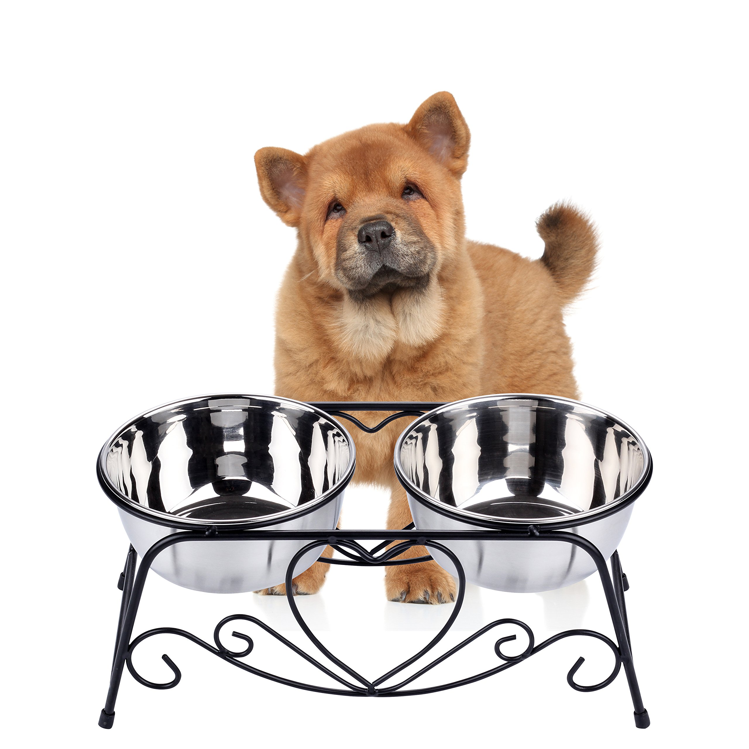 CICO Pet Feeder for Dog Cat, Stainless Steel Food and Water Bowls with Iron Stand by CICO