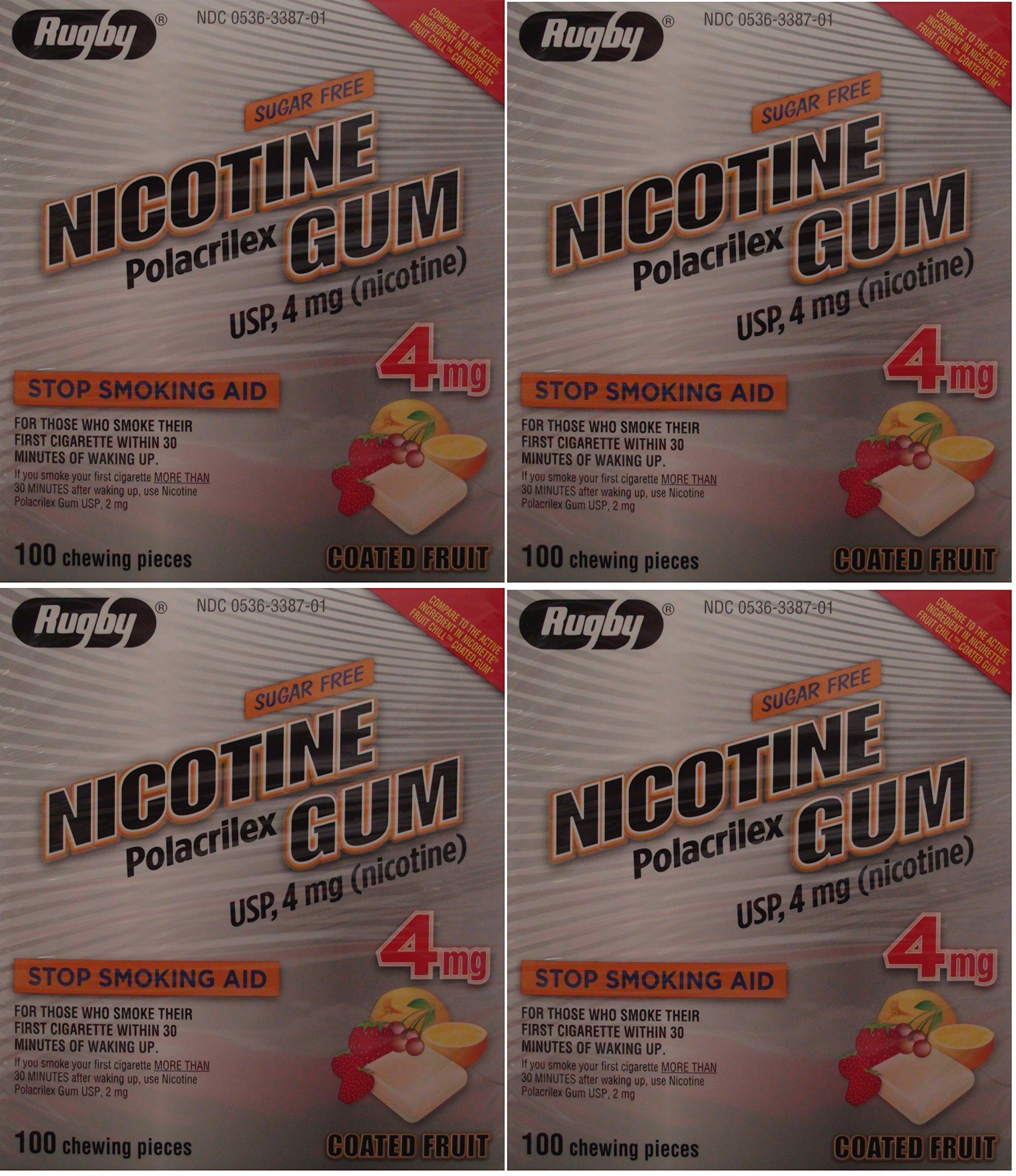 Nicotine Gum 4mg Sugar Free Coated Fruit Generic for Nicorette 100 Pieces per Box Pack of 4 Total 400 Pieces