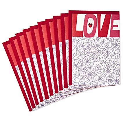Amazon Com Hallmark Pack Of Valentine S Day Cards Love 10 Cards