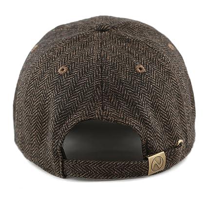 d016e0e79eb The Hat Depot Unisex Wool Blend Baseball Cap Hat (Brown Herringbone) at Amazon  Men s Clothing store