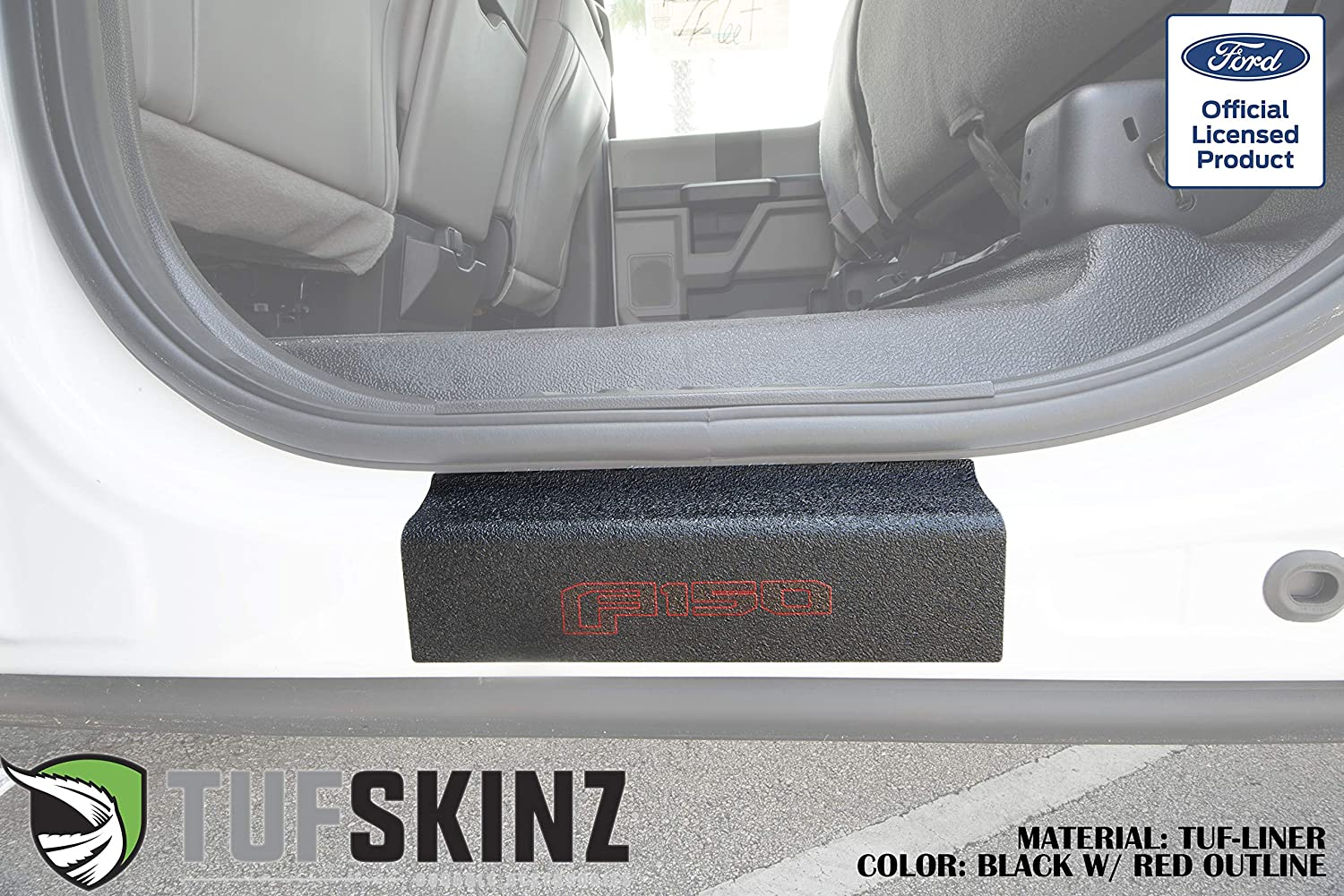 Rear Door Sill Protection TUF-Liner, Blue Logo TufSkinz Fits 2015-Up Ford F-150-2 Piece Kit