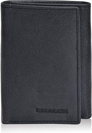 Slim RFID Wallets for Men - Genuine Leather Front Pocket Trifold Wallet