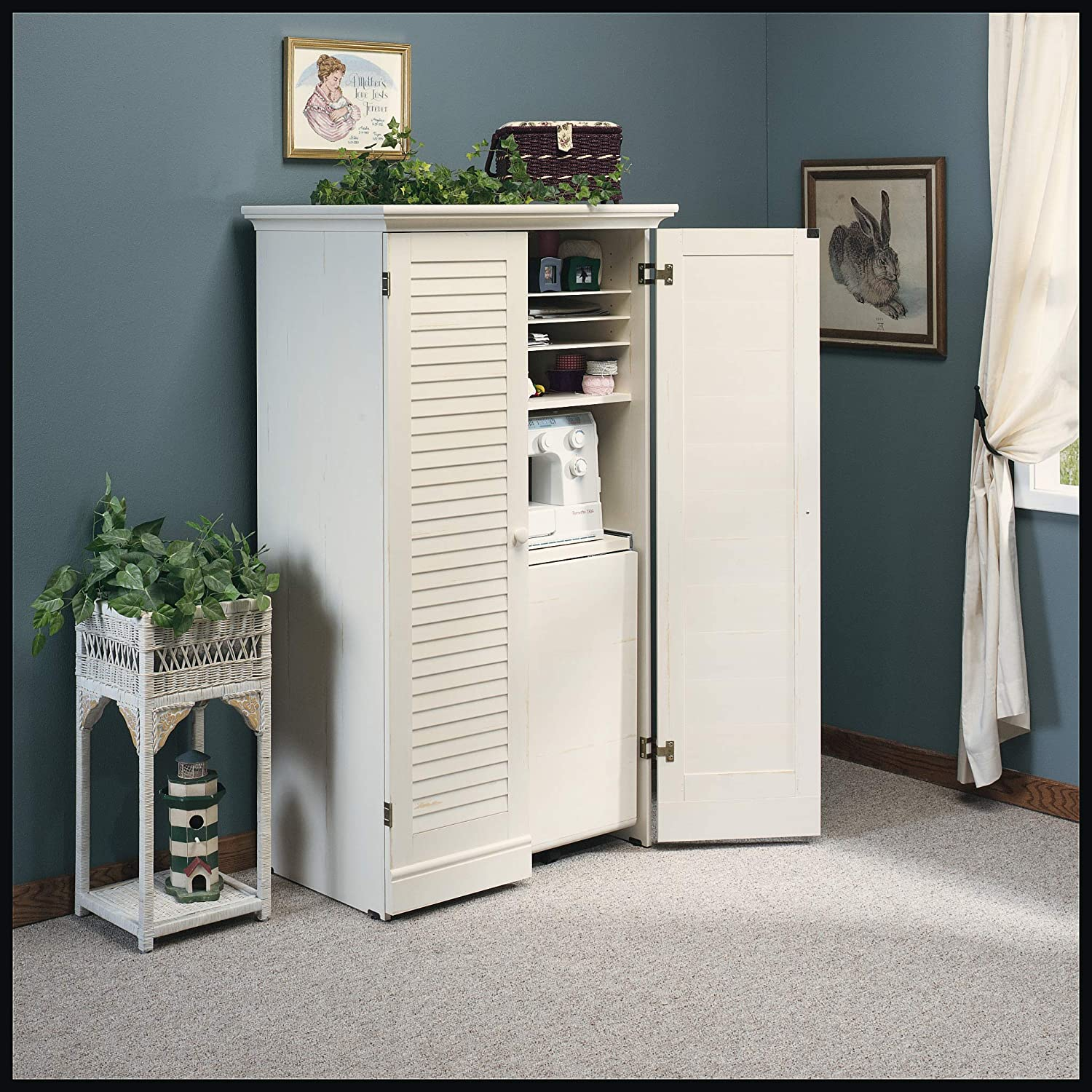 Sauder Harbor View Craft and Sewing Armoire with Table Antiqued White finish