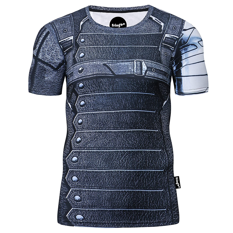 Fringoo Mens Compression Superhero T-Shirt Base Layer Gym Short Sleeve Running Thermal Workout Top