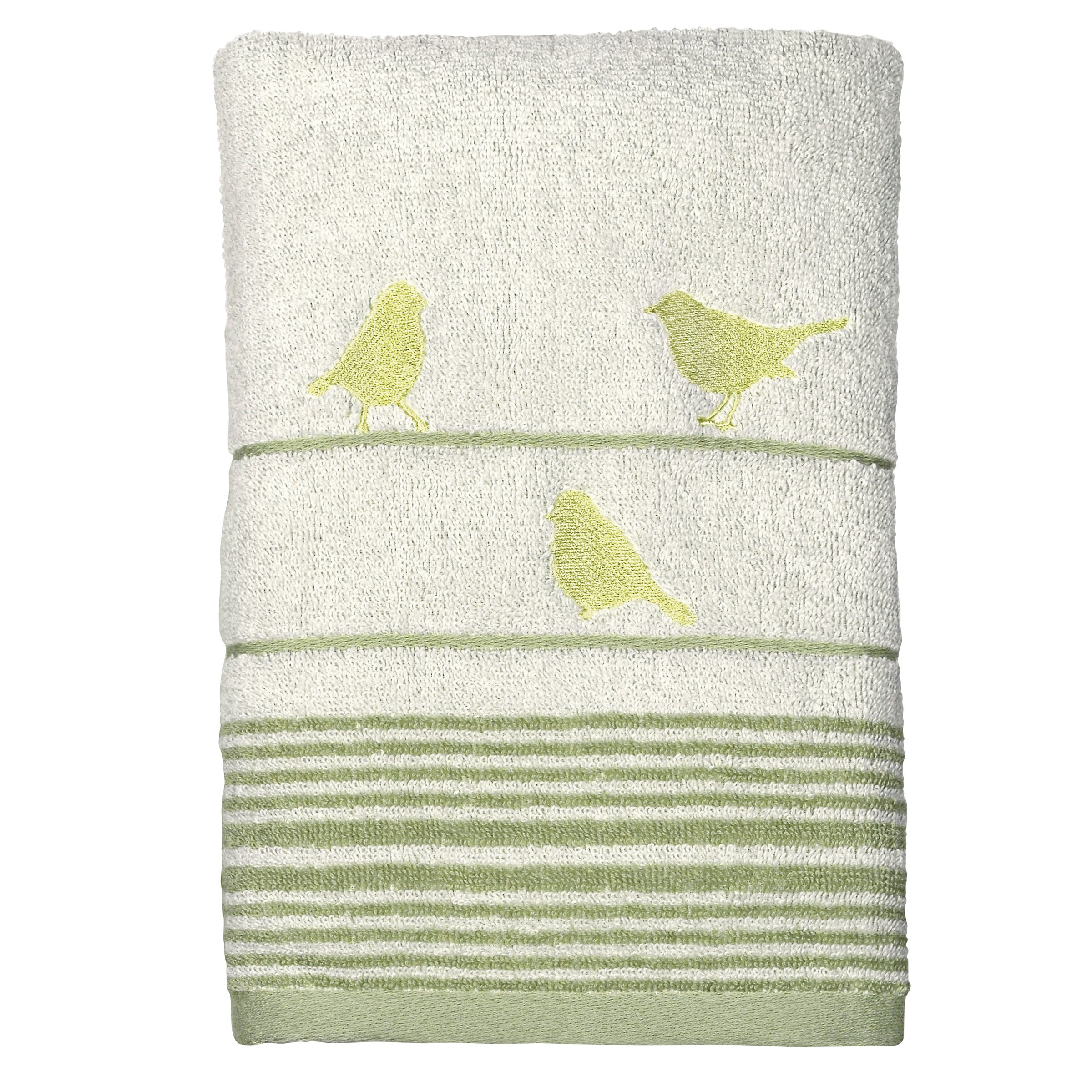 Peri Home Little Birds Hand Towel, 100Percent Cotton, Green, 15''x 26'', Bordered