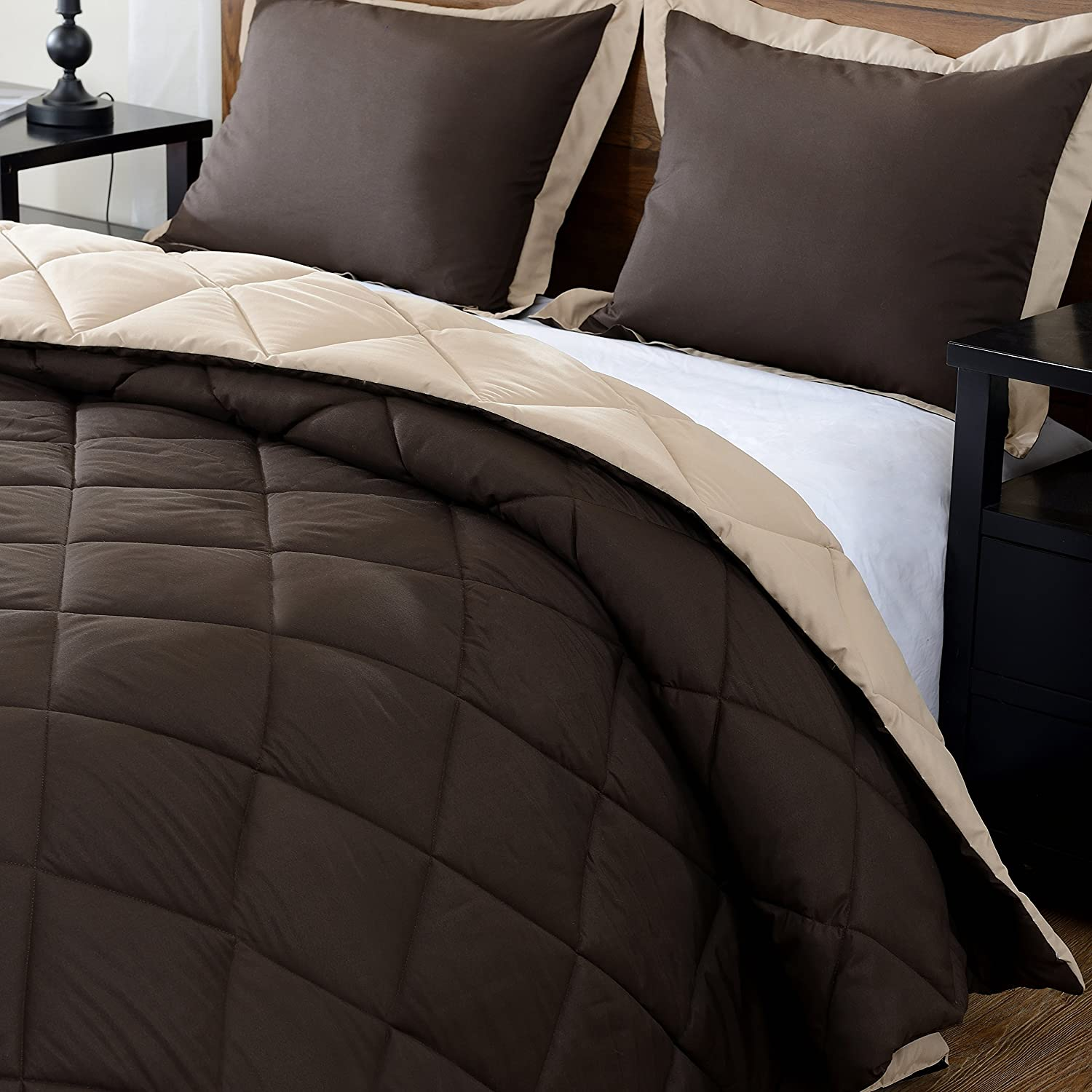 3-Piece Set - Brown and Tan - Down Alternative Reversible Comforter Size:Queen Color:Spanish Brown/Chatham Tan