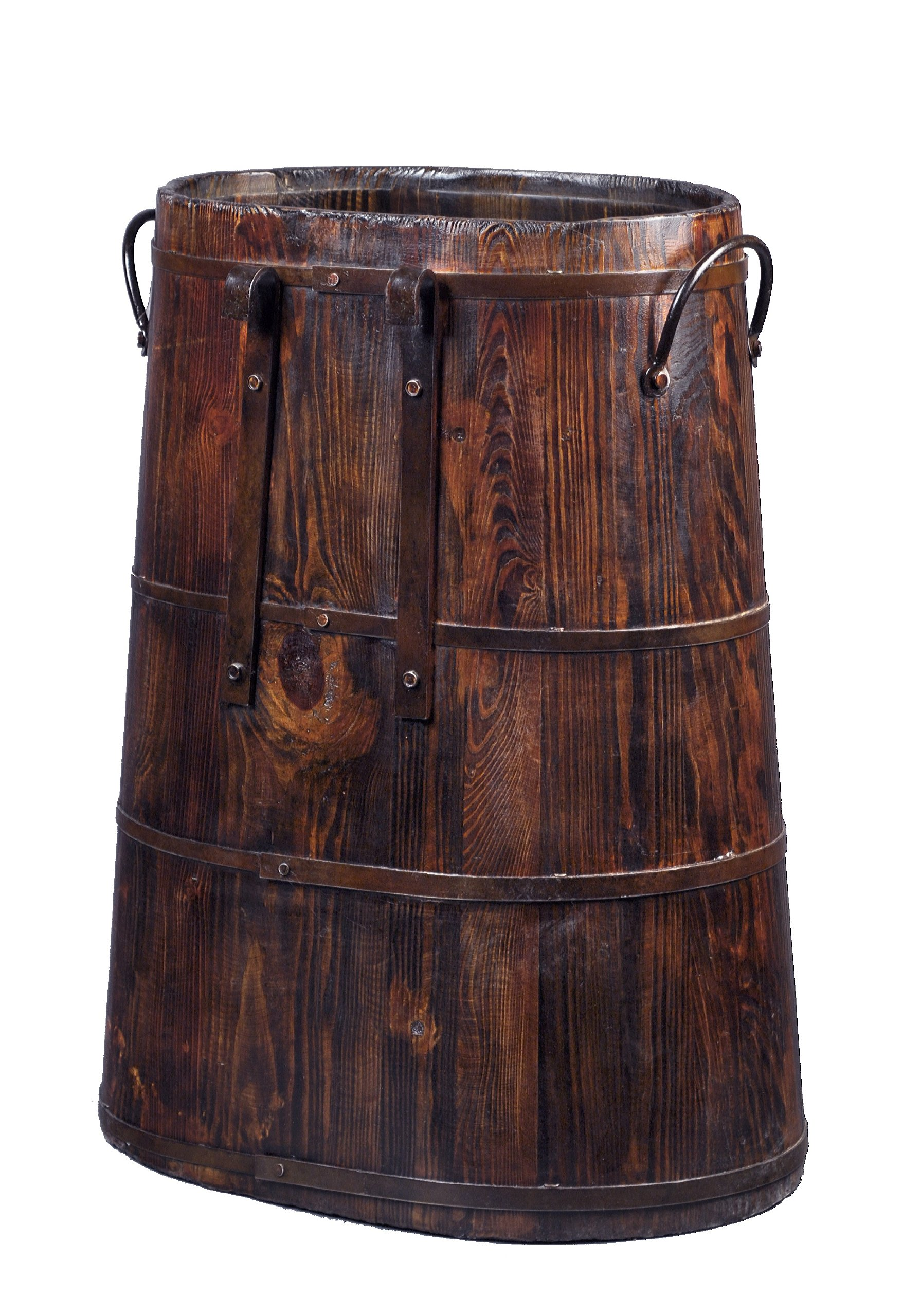 Chinese Barrel with Iron Rings, Natural Pine
