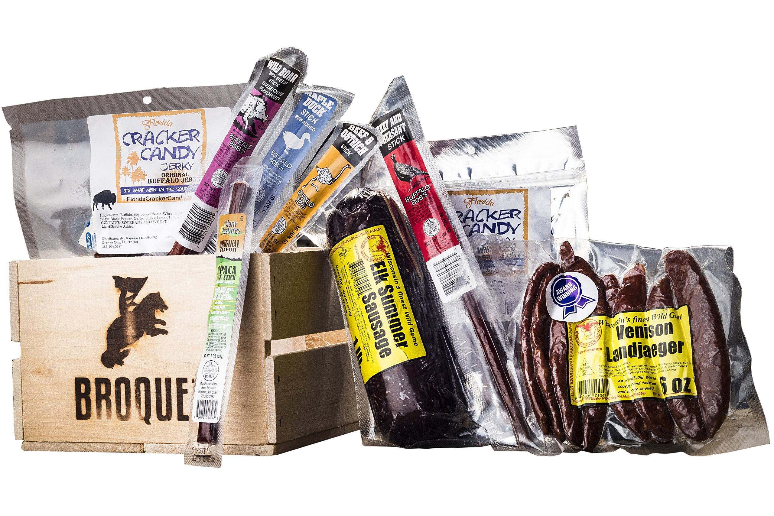 Exotic Meat Crate (Exotic Jerky Gift) - Jerky & Meat Sticks Sampler - Comes in a Wooden Crate - Great Gift for Men - Exotic Meat Jerky Gift - Birthday