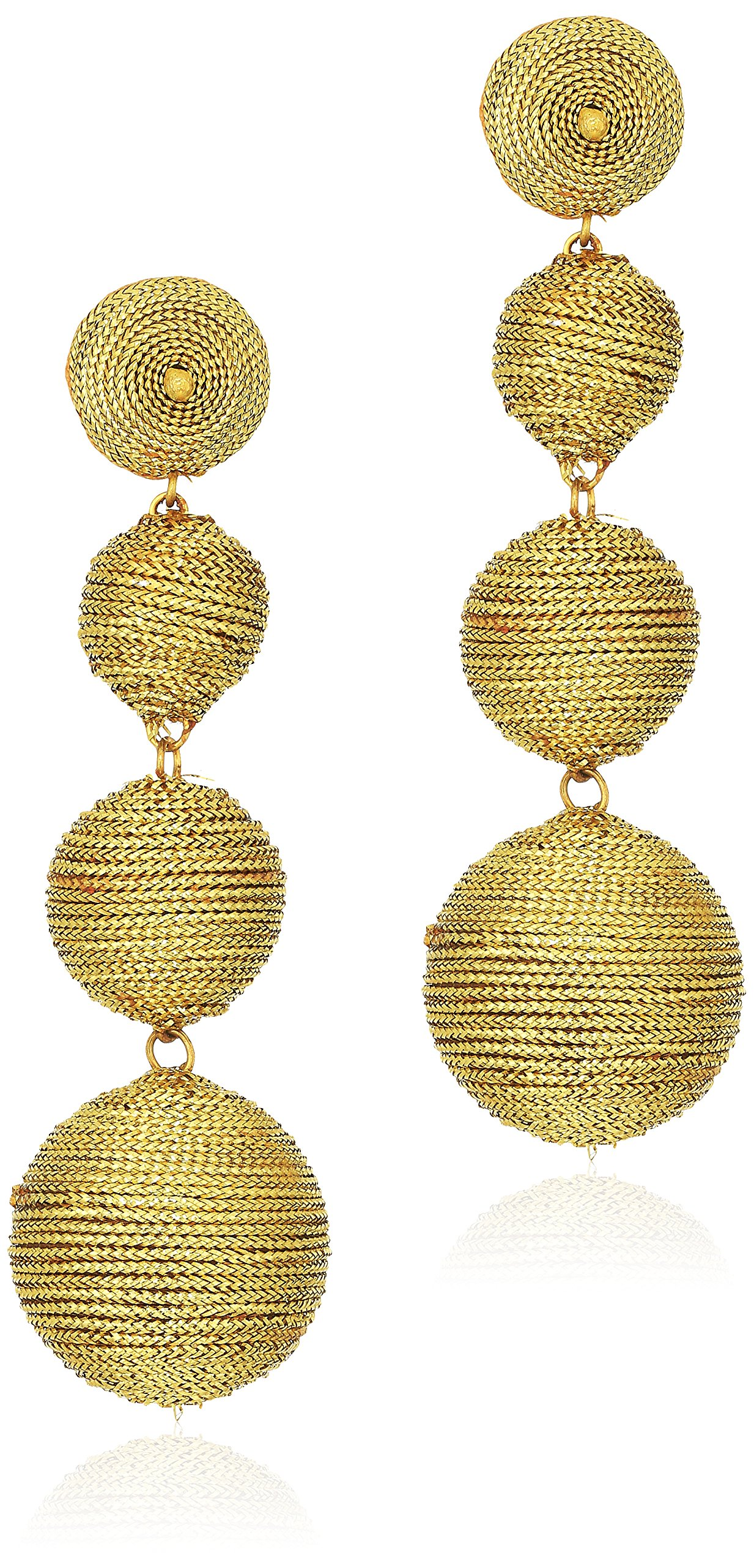 Kenneth Jay Lane Women's Gold Threaded Ball Drop Earrings