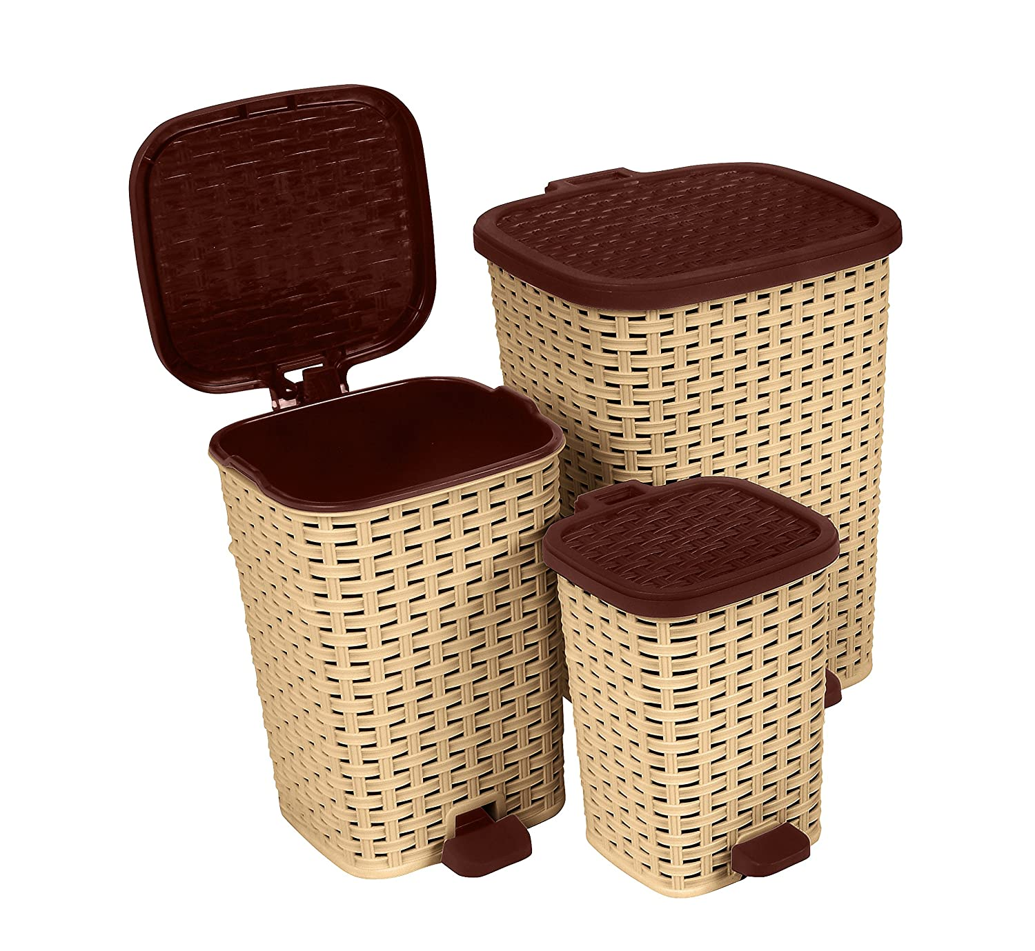 Amazon.com: Rattan (Wicker Style) Trash Can   3 Size Set   1.6 Gal. / 3.1  Gal. / 6.8 Gal. (Beige And Brown): Home U0026 Kitchen