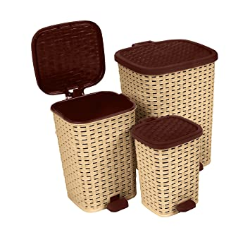Rattan (Wicker Style) Trash Can   3 Size Set   1.6 Gal. /