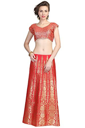 4e3ee17596 Surya Ethnic Women's Silk Banarsi Bocket Red Designer Zari weaving Crop Top  and Floor Touch Skirt With Dupatta: Amazon.in: Clothing & Accessories