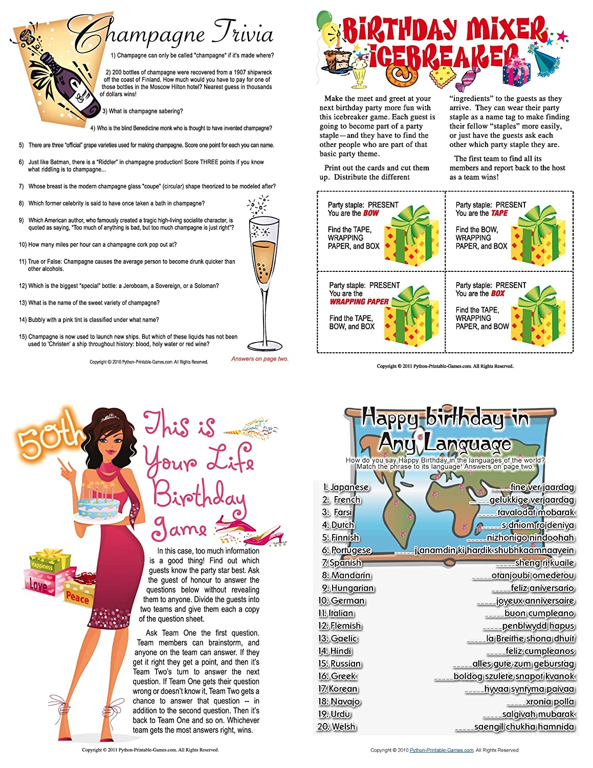 Amazon Printable 50th Birthday Party Game Pack Download Software