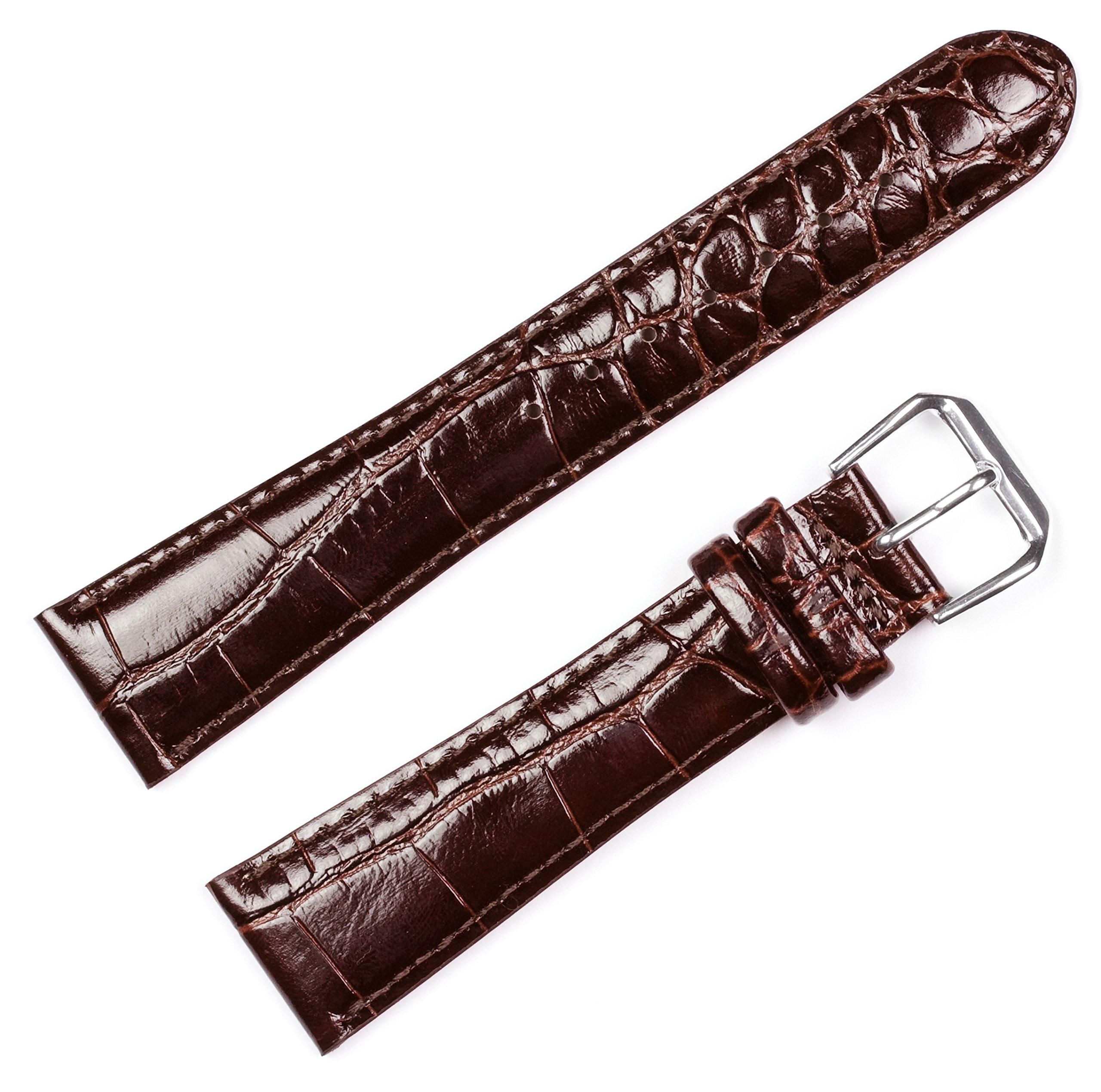 Crocodile Grain Watchband - Brown 20MM by deBeer Watch Bands (Image #1)