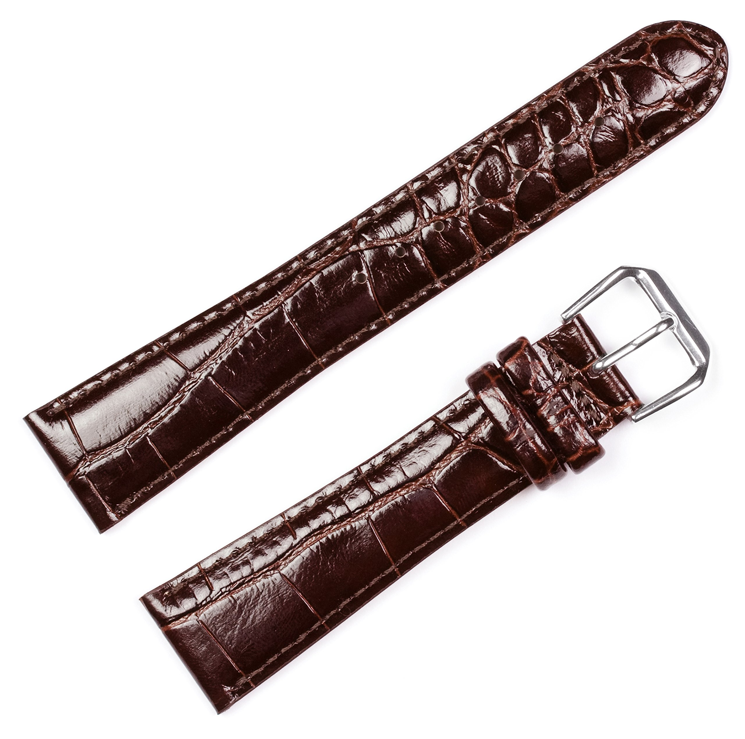 Crocodile Grain Watchband - Brown 10MM