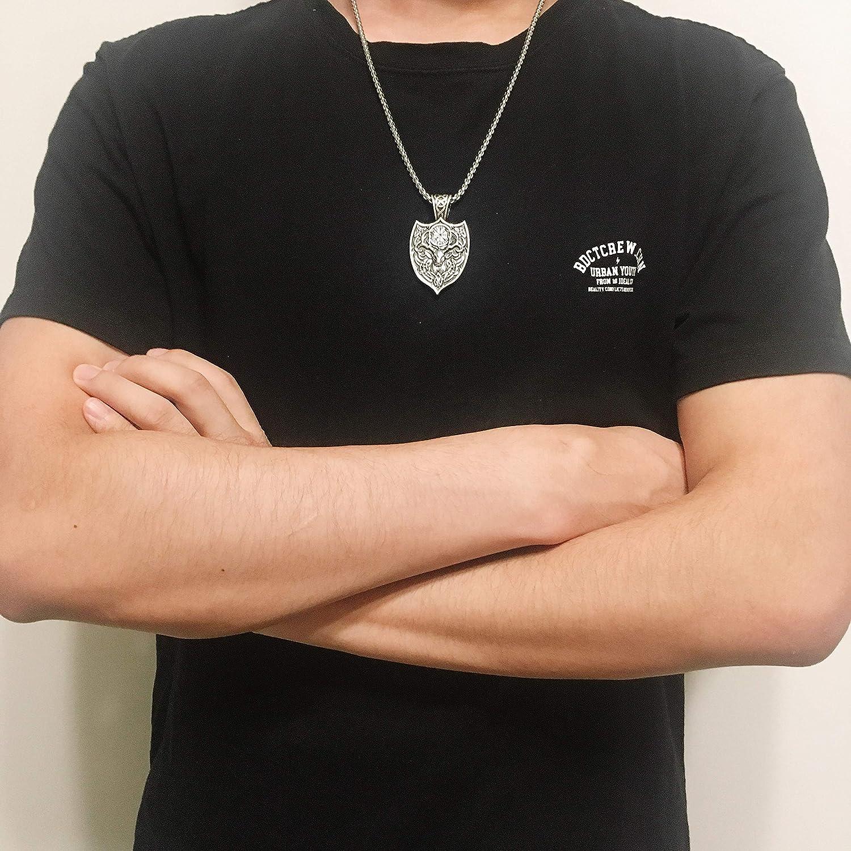 Collar con colgante de amuleto de plata envejecida estilo punk con cadena de eslabones de acero inoxidable para hombres VASSAGO Nordic Viking Series mujeres adolescentes
