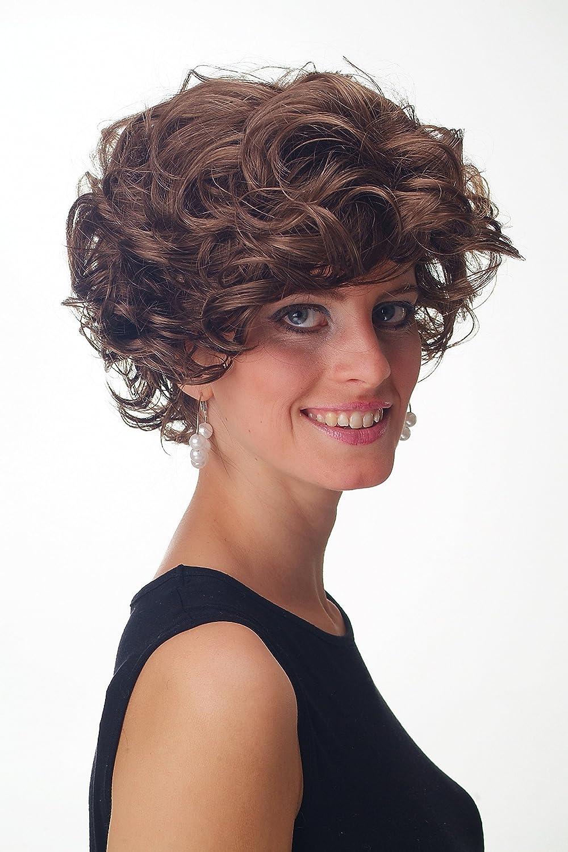 GFW963-6 Parrucca Donna Uomo Corta Scompigliata Voluminosa Riccia castano WIG ME UP /®