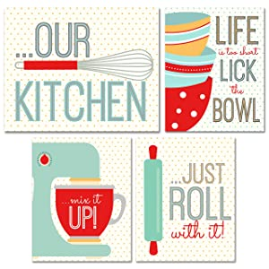 BigWig Photos Kitchen Wall Art Prints - Set of 4 (8 inches x 10 inches) Unframed Glossy Photographs