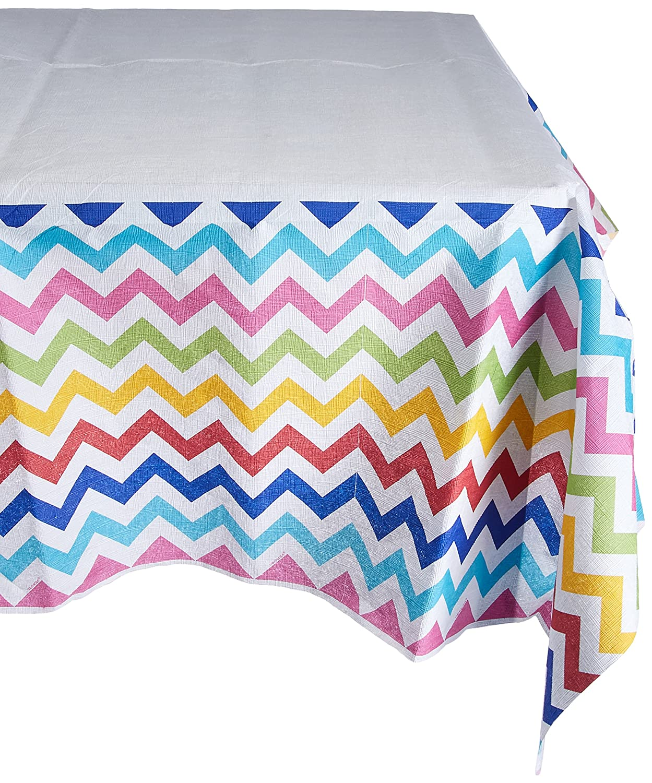 Amscan Bright Multicolored Chevron Table Cover | 6 Ct.
