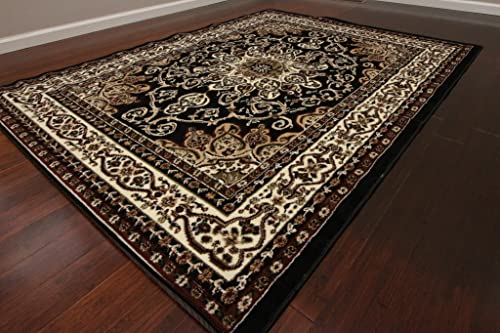 Generations New Black Oriental Traditional Isfahan Persian Area Rugs Rug 8023black 9 x 12 5