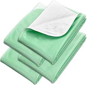 Incontinence Bed Pads - Reusable Waterproof Underpad Chair, Sofa and Mattress Protectors - Highly Absorbent, Machine Washable - for Children, Pets and Seniors (34x36 (Pack of 4), Green)