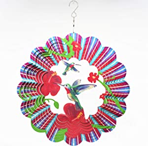 FENELY Metal Wind Spinner Outdoor, Garden Decoration,Yard Decor,Hummingbird Mandala Kinetic Hanging Whirligigs Sun Catcher Windmills for Patio and Lawn Ornaments Art (Hummingbird)