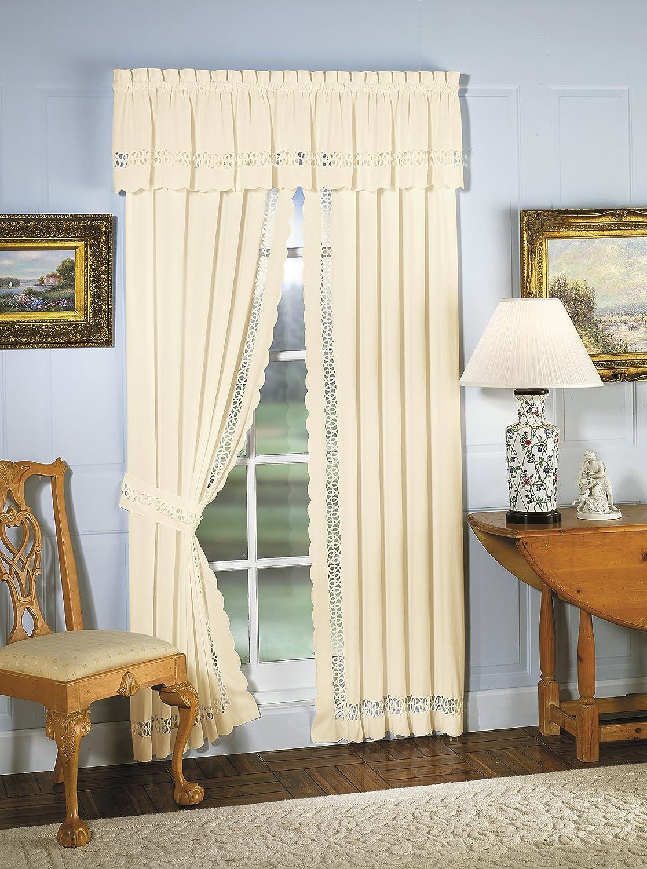 Ecru Todays Curtain Hellina Tapework Window Panel Pair and Tieback 84-Inch