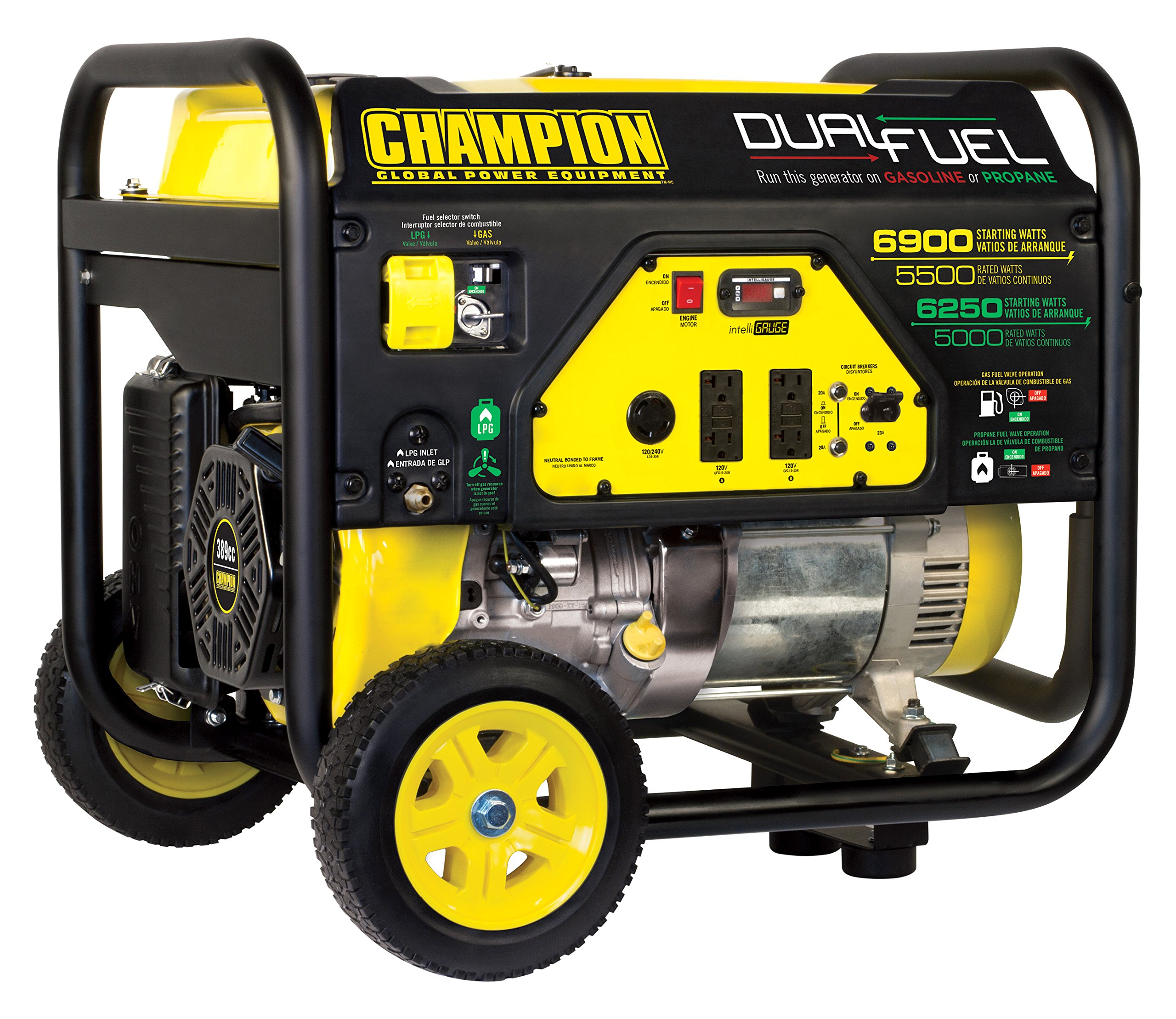Champion 5500-Watt Dual Fuel Portable Generator with Wheel Kit