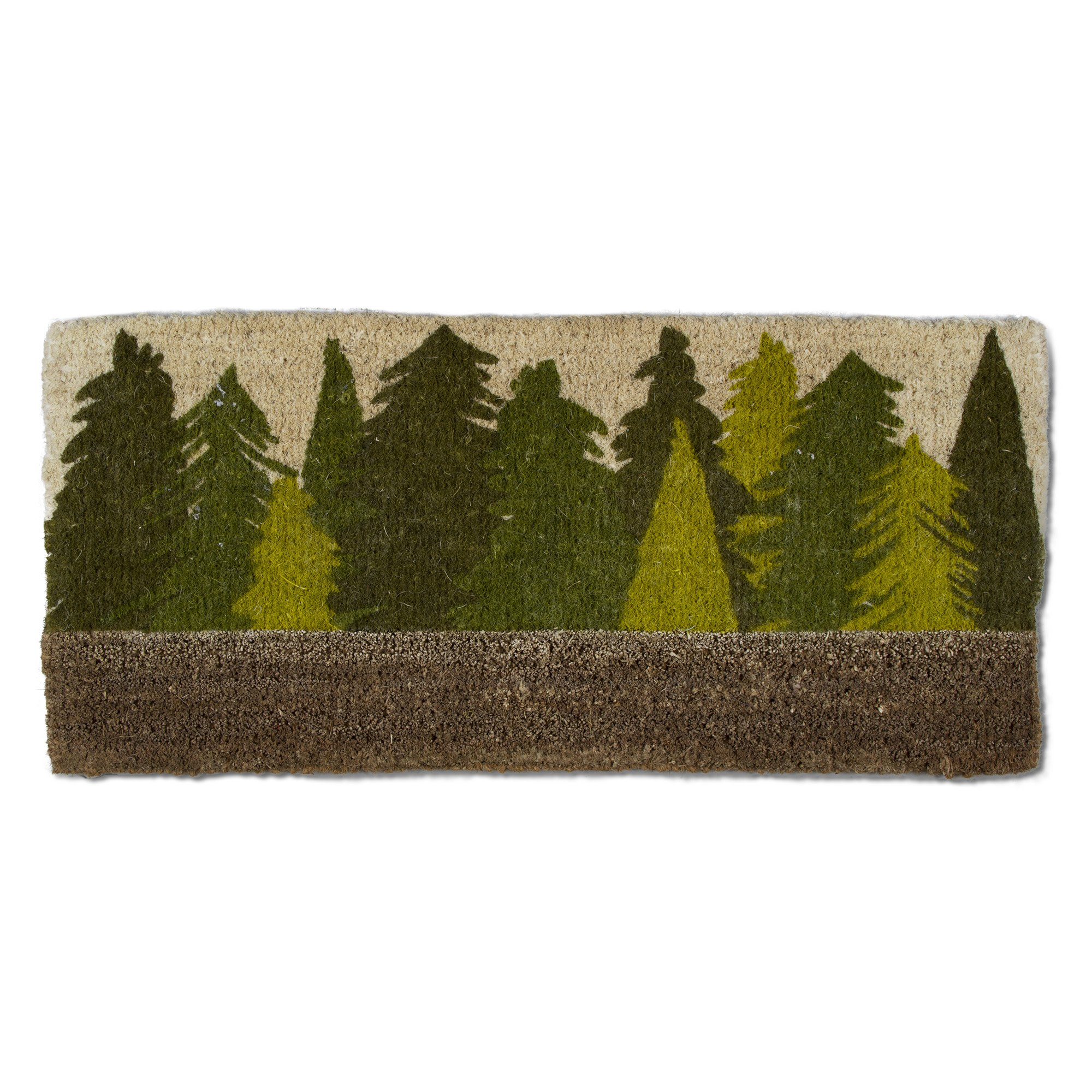 tag - Woodland Tree Estate Boot Scrape Coir Mat, Decorative All-Season Mat for the Front Porch, Patio or Entryway, Green