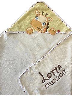 Toalla con capucha bordada con nombre y fecha de nacimiento)/76 x 76 cm/suave/1 A calidad/100% Cotton…