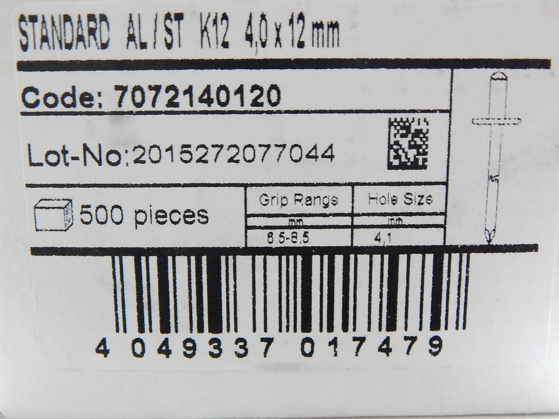 100 St/ück Blindnieten Popnieten Alu//Stahl 4,0x12 mm Nieten Gro/ßkopf K12