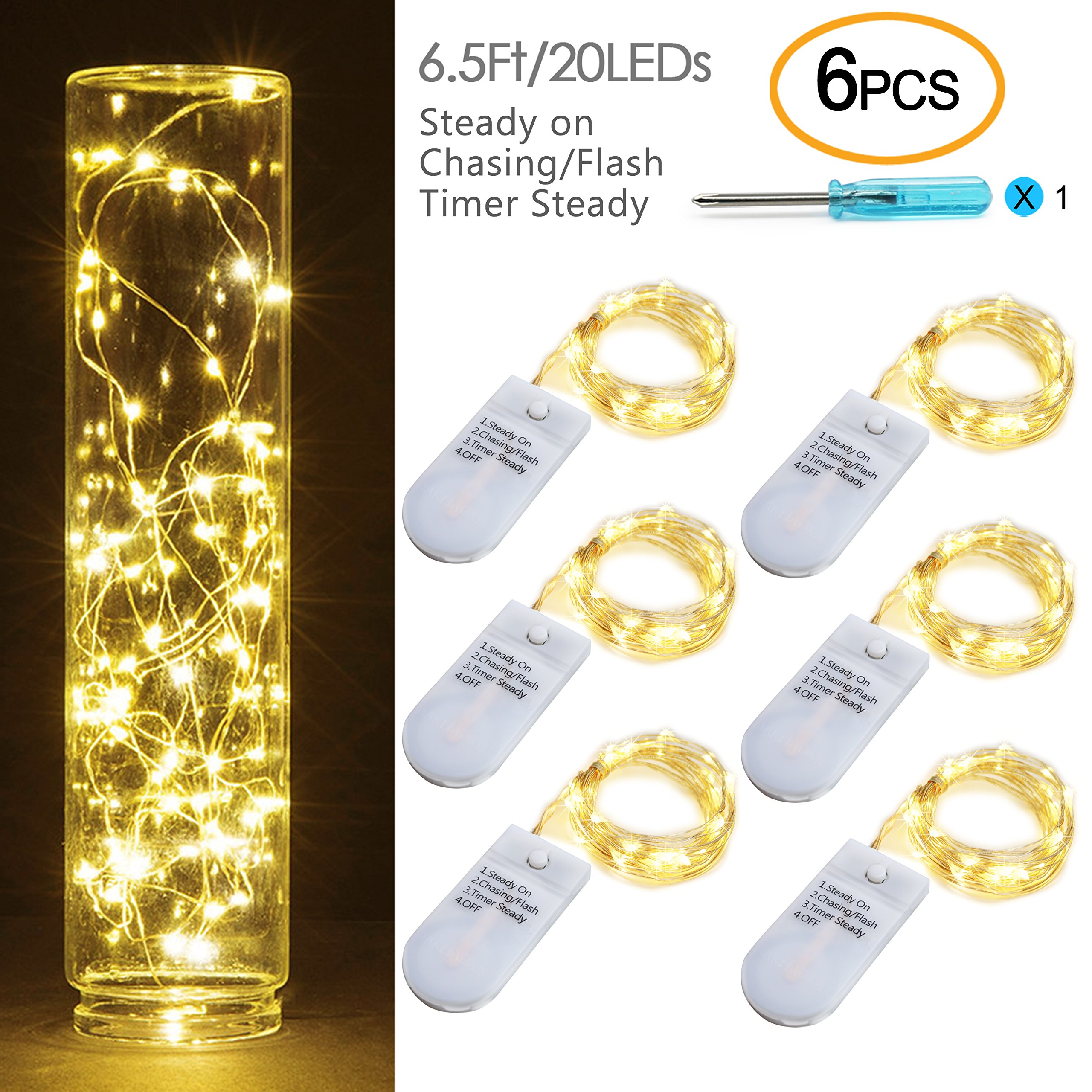 [6-PACK] Timer Fairy Lights 3 Modes Twinkle Lights with 20 LED Starry String Lights on 6.5ft Silver Wire,Fairy Lights Battery Powered by 2xCR2032 for Party,Wedding,Christmas Tabel Decor,Warm White